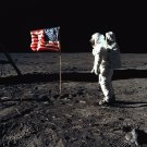 BUZZ ALDRIN SALUTES FLAG ON MOON APOLLO 11 ASTRONAUT - 8X10 NASA PHOTO (EP-320)