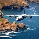 LOCKHEED MARTIN C-130-J HERCULES NEAR SANTA CRUZ ISLAND - 8X10 PHOTO (EP-585)