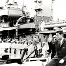 PRESIDENT JOHN F. KENNEDY NEXT TO THE USS SAUFLEY IN 1962 - 8X10 PHOTO (ZY-132)