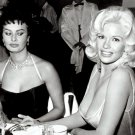 SOPHIA LOREN & JAYNE MANSFIELD AT A PARTY IN 1957- 8X10 PUBLICITY PHOTO (AB-150)
