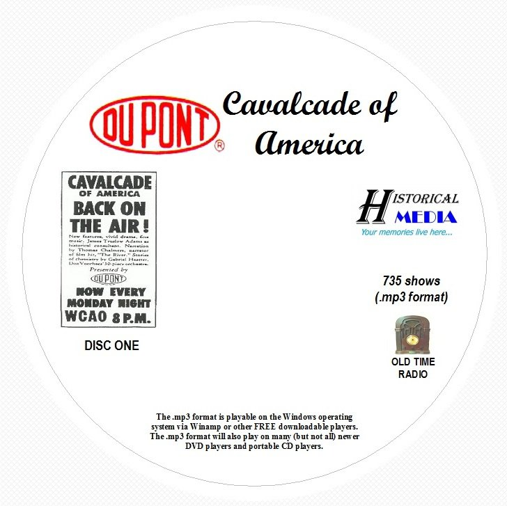 CAVALCADE OF AMERICA - 735 Shows Old Time Radio In MP3 Format OTR On 8 CDs