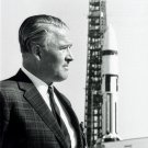 WERNHER VON BRAUN STANDS NEAR SATURN 1-B AT LAUNCH PAD 8X10 NASA PHOTO (EP-019)