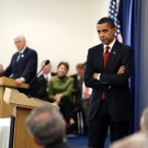 BARACK OBAMA LISTENS TO A QUESTION FROM REPUBLICAN CAUCUS - 8X10 PHOTO (ZY-263)