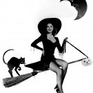 AVA GARDNER ON A BROOM AS A WITCH - 8X10 HALLOWEEN PUBLICITY PHOTO (ZZ-000)