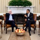 PRESIDENT BARACK OBAMA MEETS w/ SENATOR JOHN McCAIN IN 2011 8X10 PHOTO (EE-099)