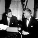 PRESIDENT JOHN F. KENNEDY MEETS WITH G. MENNEN WILLIAMS - 8X10 PHOTO (AA-327)