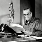 BORIS KARLOFF ON-AIR FOR HIS WEEKLY RADIO SHOW ON WNEW, NY - 8X10 PHOTO (BB-444)