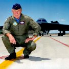 GENERAL CHUCK YEAGER WITH STEALTH FIGHTER IN BACKGROUND - 8X10 PHOTO (BB-126)
