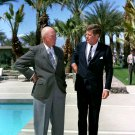 PRES. JOHN F. KENNEDY MEETS WITH DWIGHT EISENHOWER IN 1962 - 8X10 PHOTO (BB-682)