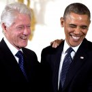 PRESIDENT BARACK OBAMA WITH BILL CLINTON IN 2013 - 8X10 PHOTO (NN-182)