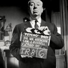 "ALFRED HITCHCOCK HOLDING CLAPPERBOARD ON THE SET OF ""PSYCHO"" 8X10 PHOTO (AZ174)"
