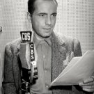 HUMPHREY BOGART READS FROM SCRIPT FOR RADIO DRAMA 'SUSPENSE' 8X10 PHOTO (BB-179)