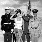 ACTRESS RAQUEL WELCH WITH MEMBERS OF THE ARMED FORCES - 8X10 PHOTO (AA-350)