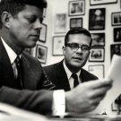 PRESIDENT-ELECT JOHN F. KENNEDY & SPEECHWRITER TED SORENSEN 8X10 PHOTO (AA-755)