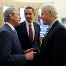 PRESIDENT BARACK OBAMA WITH GEORGE W. BUSH & BILL CLINTON - 8X10 PHOTO (EP-676)