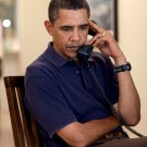 PRESIDENT BARACK OBAMA ON CONFERENCE CALL WHILE IN HAWAII - 8X10 PHOTO (ZY-373)