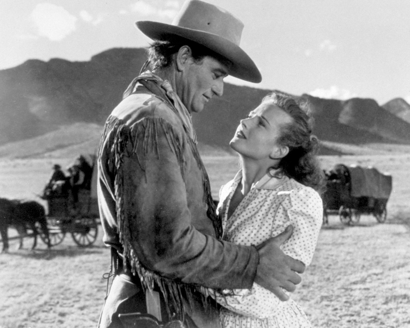 "JOHN WAYNE & JOANNE DRU IN THE FILM ""RED RIVER"" - 8X10 PUBLICITY PHOTO (ZY-405)"