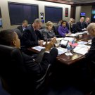 BARACK OBAMA w/ NATIONAL SECURITY TEAM IN THE SITUATION ROOM 8X10 PHOTO (ZY-511)
