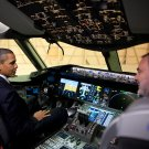 PRESIDENT BARACK OBAMA IN A BOEING 767 COCKPIT - 8X10 PHOTO (ZY-516)
