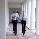 "BARACK OBAMA & JOE BIDEN DURING ""LET'S MOVE!"" TAPING - 8X10 PHOTO (ZY-546)"