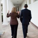 PRESIDENT BARACK OBAMA WALKS WITH HILLARY CLINTON IN 2011 - 8X10 PHOTO (ZY-559)