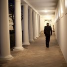 BARACK OBAMA WALKS ALONE ALONG THE WHITE HOUSE COLONNADE - 8X10 PHOTO (ZY-589)