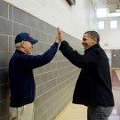 BARACK OBAMA & JOE BIDEN HIGH-FIVE AFTER BASKETBALL GAME - 8X10 PHOTO (ZY-597)