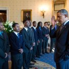"""BARACK OBAMA GREETS PARTICIPANTS IN """"MY BROTHER'S KEEPER"""" - 8X10 PHOTO (ZY-603)"""