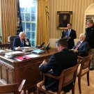 DONALD TRUMP ON PHONE WITH VLADIMIR PUTIN IN THE OVAL OFFICE 8X10 PHOTO (ZY-734)