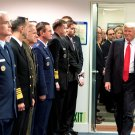 """PRESIDENT DONALD TRUMP ENTERS """"HALL OF HEROES"""" THE PENTAGON 8X10 PHOTO (ZY-748)"""