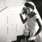 JACQUELINE KENNEDY PREPARES TO THROW HER WEDDING BOUQUET - 8X10 PHOTO (AA-065)