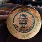 "Copper wall art plate from Peru  7 3/8"" wall hanging"
