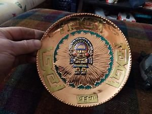 """Copper wall art plate from Peru  7 3/8"""" wall hanging"""