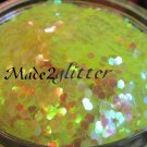 Iridescent Neon Yellow Hexagon glitter