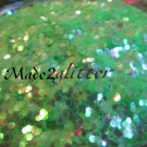 Iridescent Neon Green Hexagon glitter