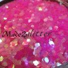 iridescent Neon Pink Hexagon glitter