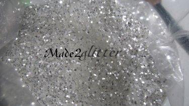 White silver shining hexagon glitter