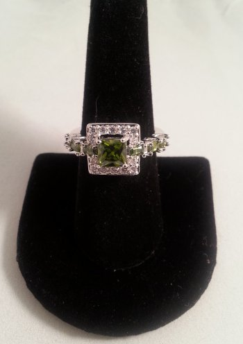 Olive Green Princess Cut CZ Ring