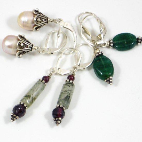 Darling Dangles - Set of 3 PAIRS of Genuine Gemstone Earrings