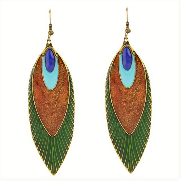 Fashion Bohemia Ethnic Multicolor Antique Brass Peacock Feather Long Drop Dangle Earrings