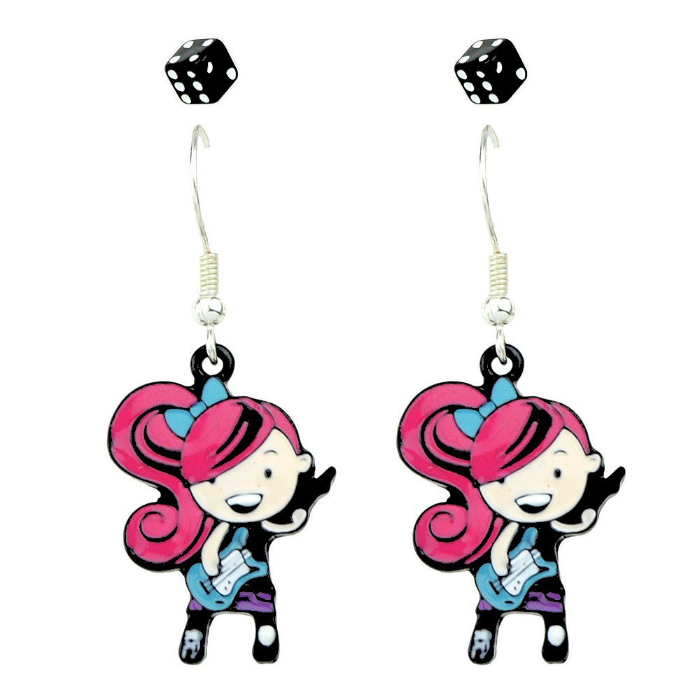 Fashion Rocking Roll Punk Multicolor Guitar Girl Two Dice Statement Drop Stud Earrings