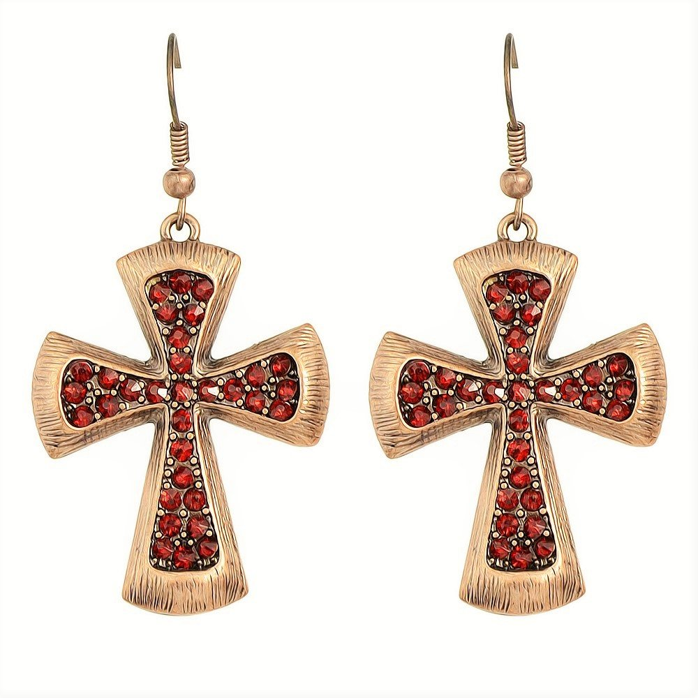 Fashion Gypsy Vintage Antique Copper Red Crystal Rhinestone Cross Hoop Drop Earrings