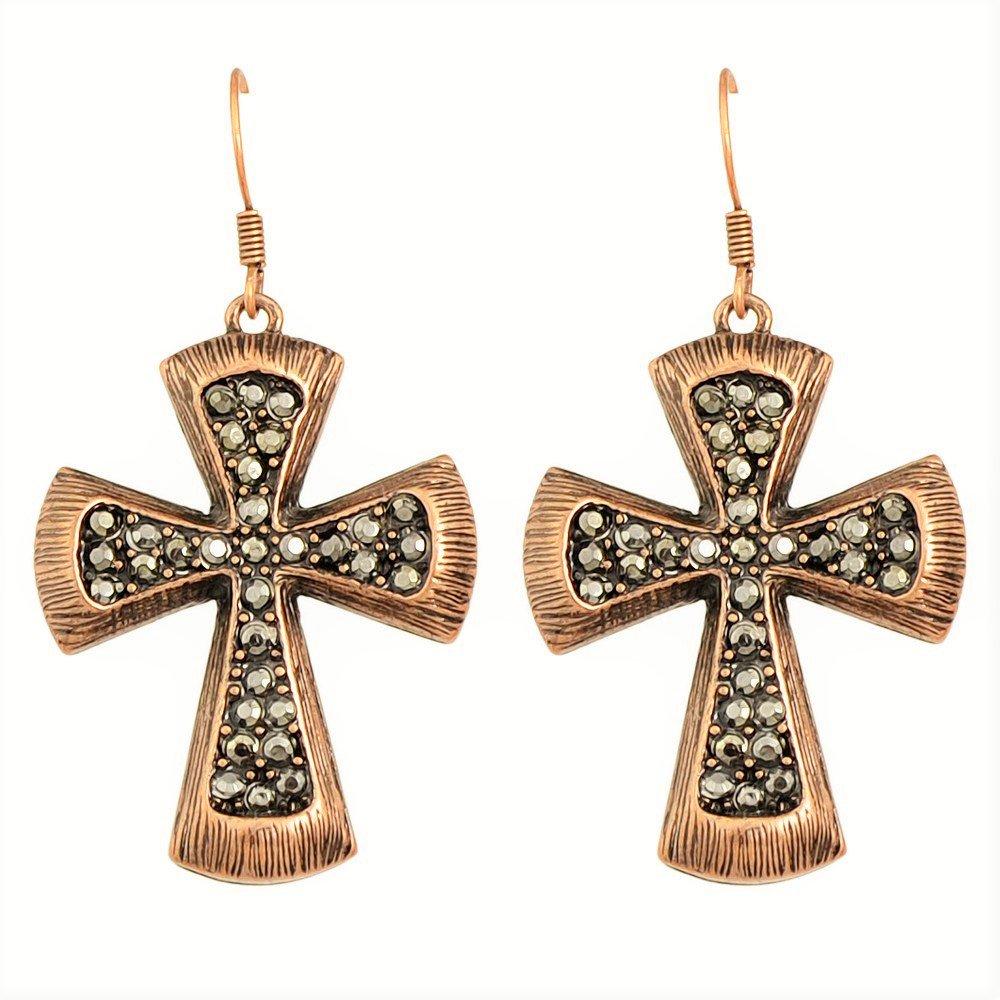 Fashion Gypsy Vintage Antique Copper Gun Black Crystal Rhinestone Cross Hoop Drop Earrings