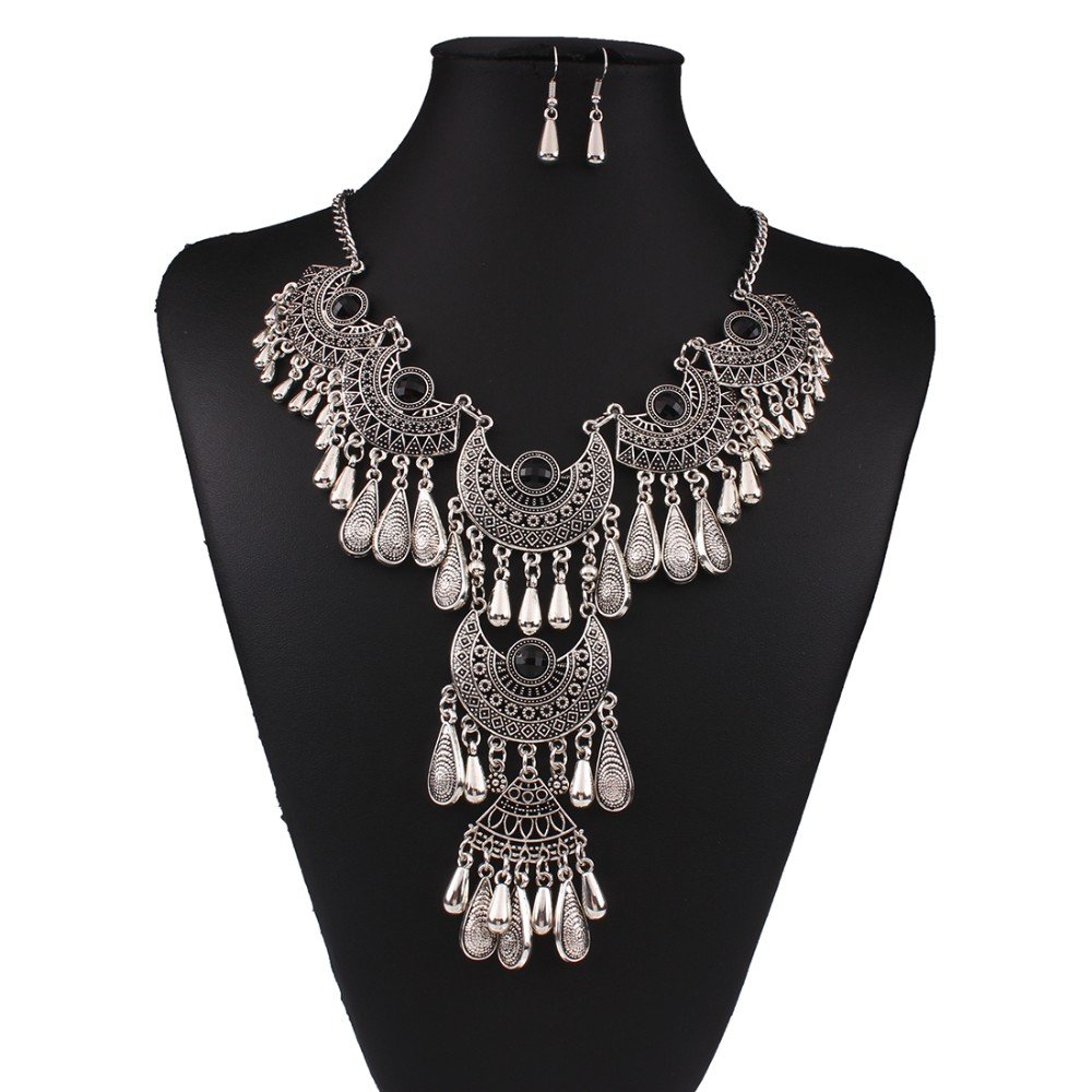Antique Silver Vintage Black Crystal Gypsy Indian Tassel Chandelier Bib Statement Drop Necklace Set