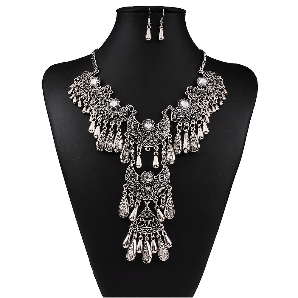 Antique Silver White Crystal Vintage Gypsy Indian Tassel Chandelier Bib Statement Drop Necklace Set