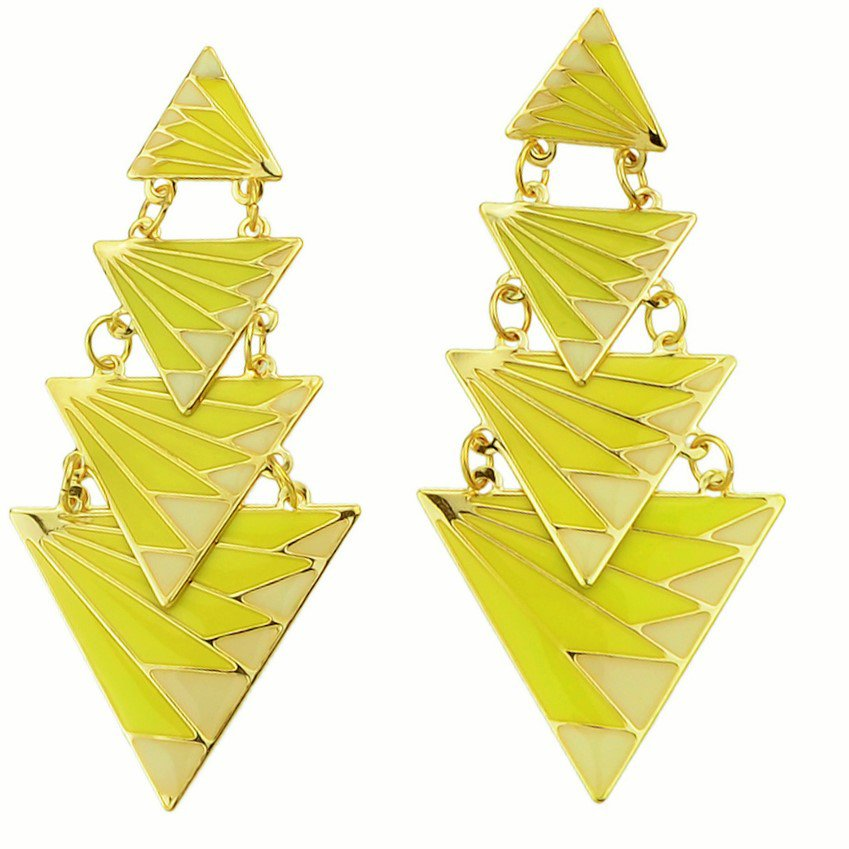 Gorgeous Boho Gold Plated Yellow Zig Zag Ethnic Printed Tiered Triangle Punk Drop Earrings
