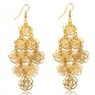 Romantic Fashion Gold Plated Bijoux Rose Flower Chandelier Drop Dangle Earrings