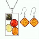 African Bohemia Silver Plated Cubic Zircon Multicolor Amber Gemstone Chain Rectangular Necklace Sets