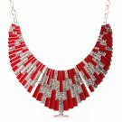 Bohemian Egyptian Punk Tribal Spike 18K Gold Plated Red Revival Bib Chunky Statement Necklace