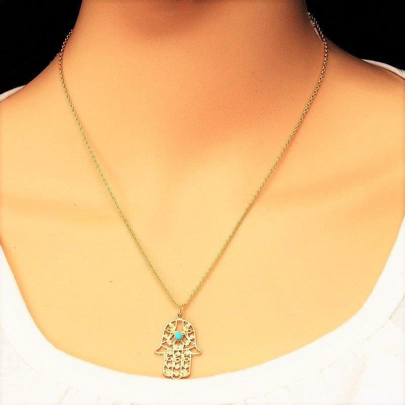 Boho Gold Plated Hamsa Hand Palm Turquoise Bead Long Chain Pendants Necklace